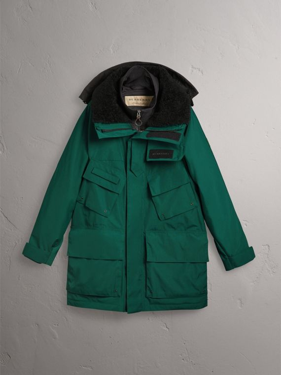 Detachable Shearling Collar Modular Jacket with Warmer in Sea Green - Men | Burberry - cell image 3
