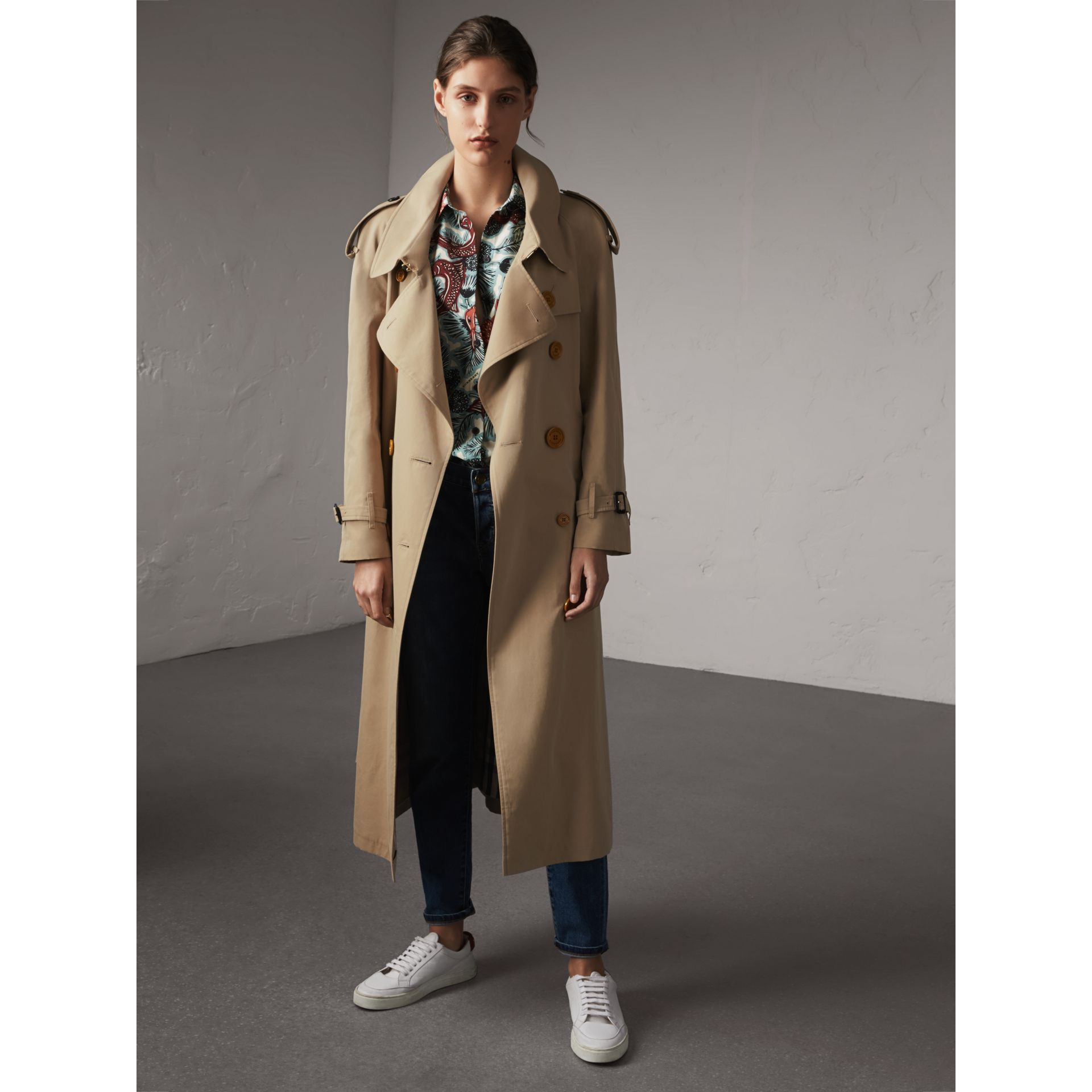 Resin Button Cotton Gabardine Oversize Trench Coat in Honey - Women | Burberry - gallery image 5