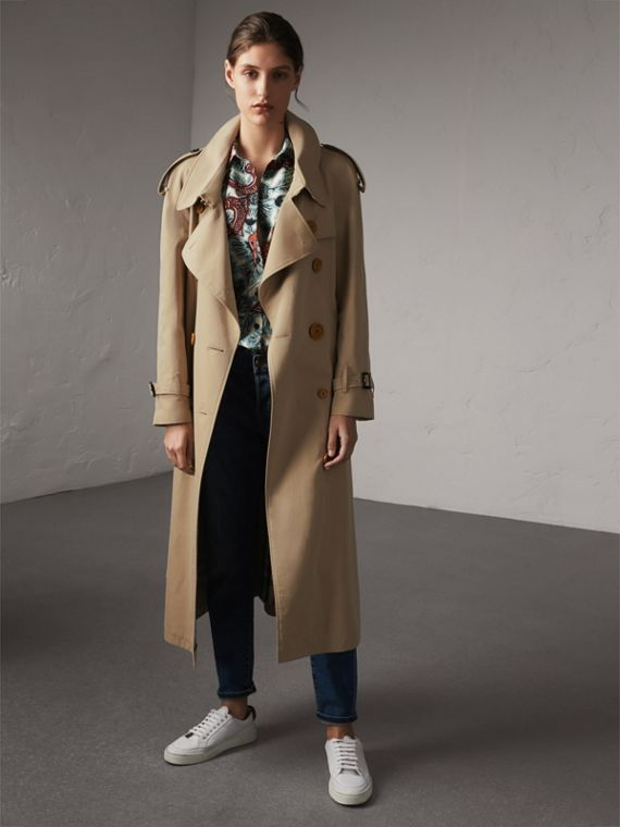 Resin Button Cotton Gabardine Oversize Trench Coat - Women | Burberry Singapore