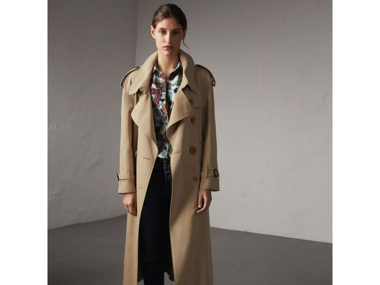 Resin Button Cotton Gabardine Oversize Trench Coat in Honey - Women | Burberry - cell image 4