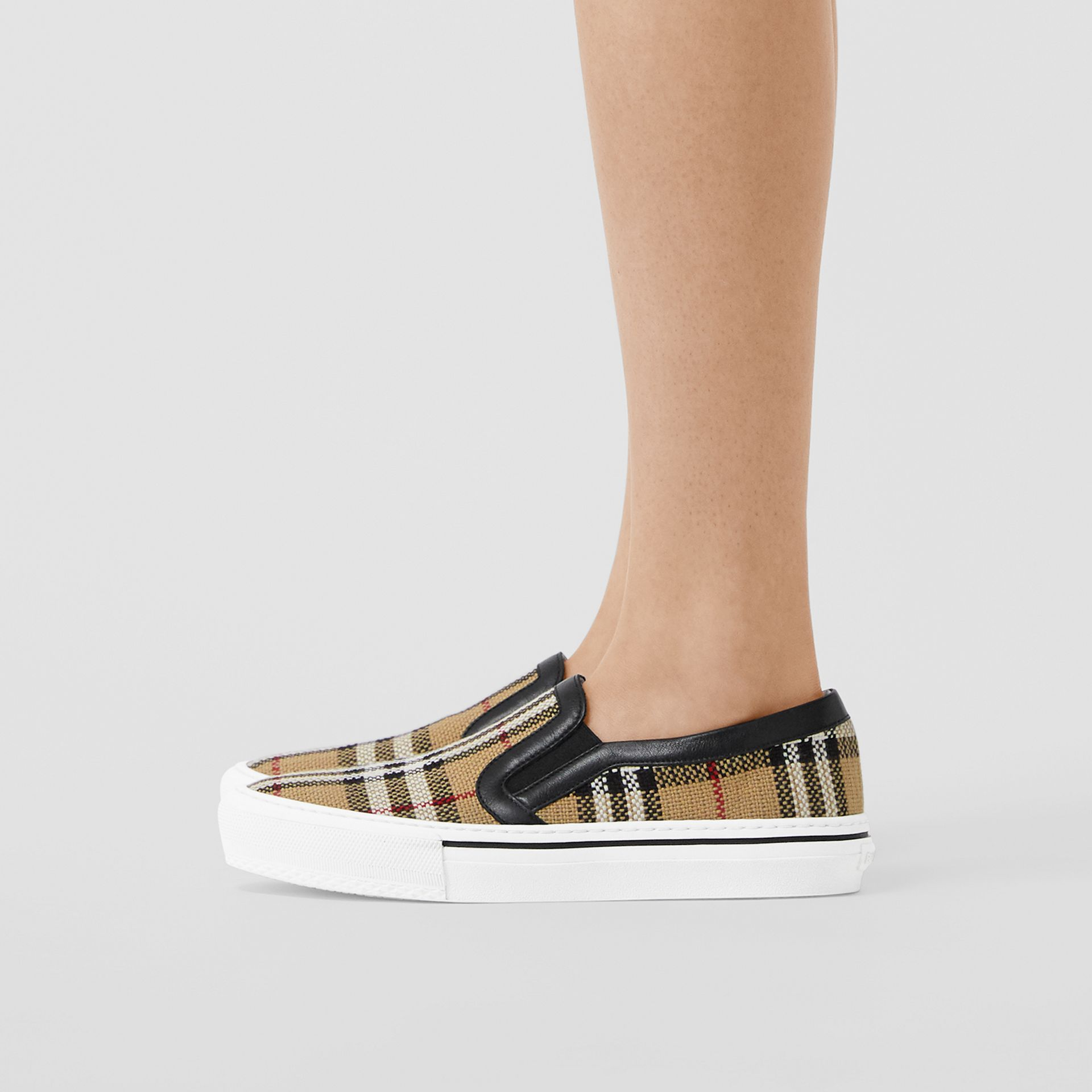 Vintage Check and Leather Slip-on Sneakers in Archive Beige - Women | Burberry - gallery image 2