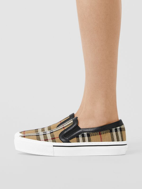 Vintage Check and Leather Slip-on Sneakers in Archive Beige - Women | Burberry - cell image 2