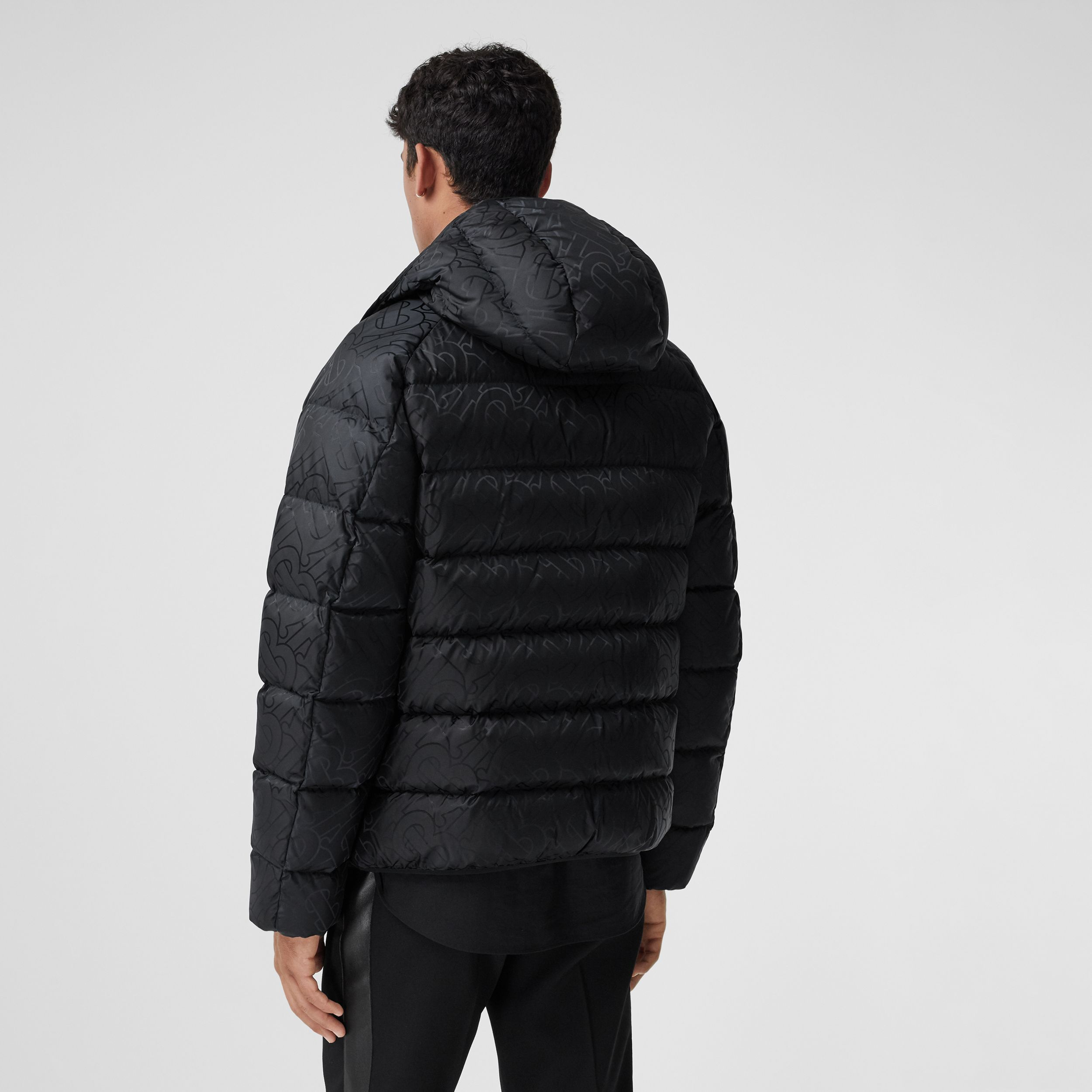 Monogram Jacquard Hooded Puffer Jacket in Black - Men | Burberry - 3
