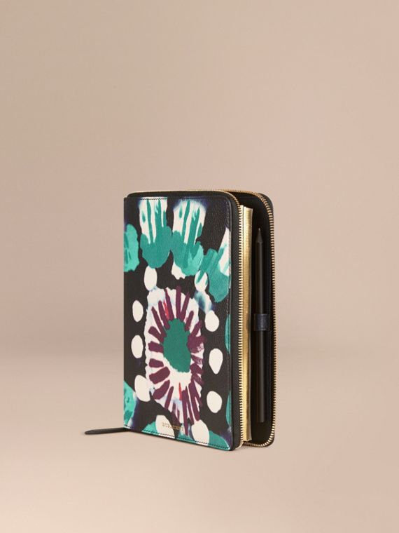 Ziparound Tie-dye Print Grainy Leather A5 Notebook Navy