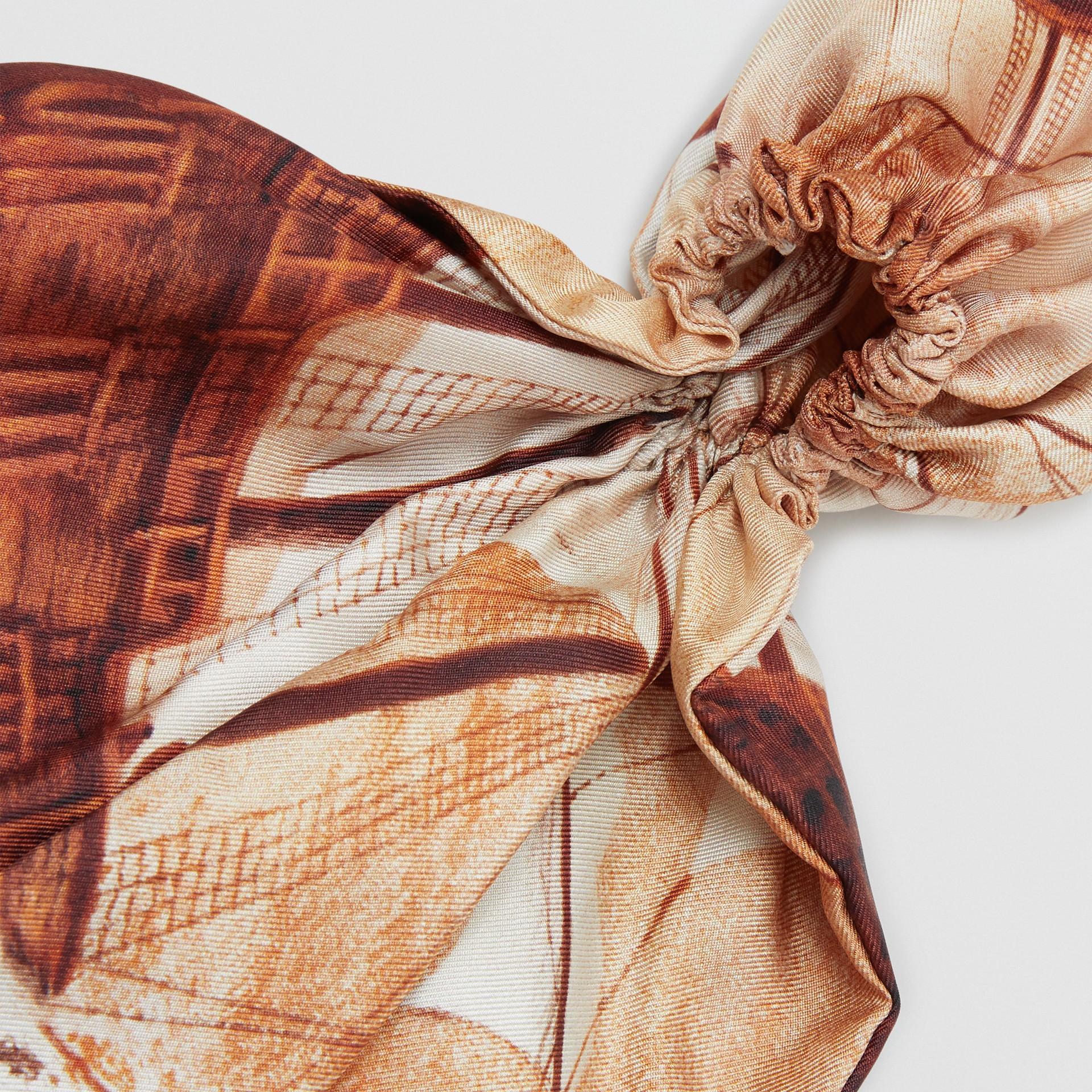 Mariner Print Silk Hair Scarf in Bronze - Women | Burberry United States - gallery image 1