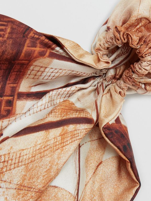 Mariner Print Silk Hair Scarf in Bronze - Women | Burberry United States - cell image 1