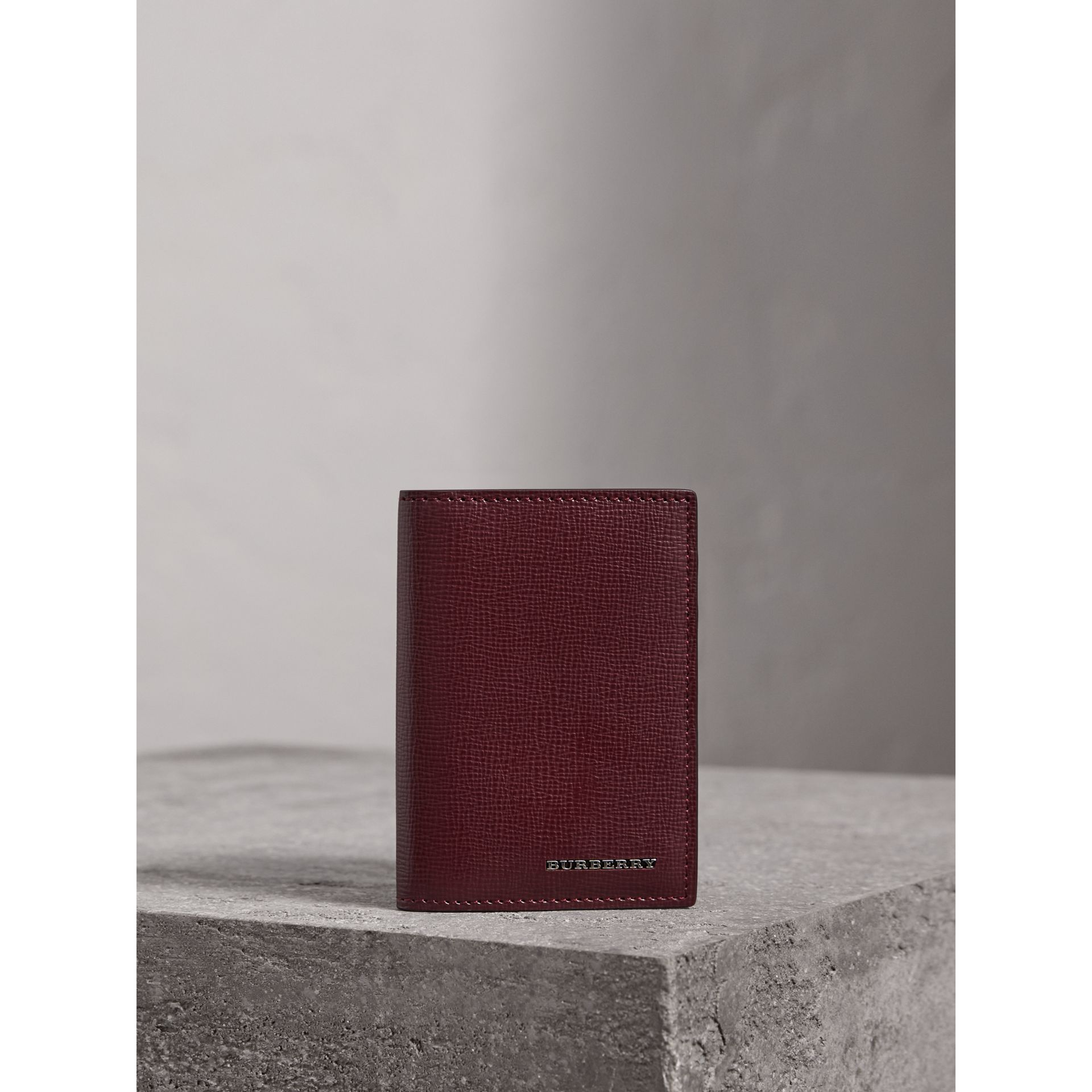 London Leather Folding Card Case in Burgundy Red | Burberry - gallery image 0