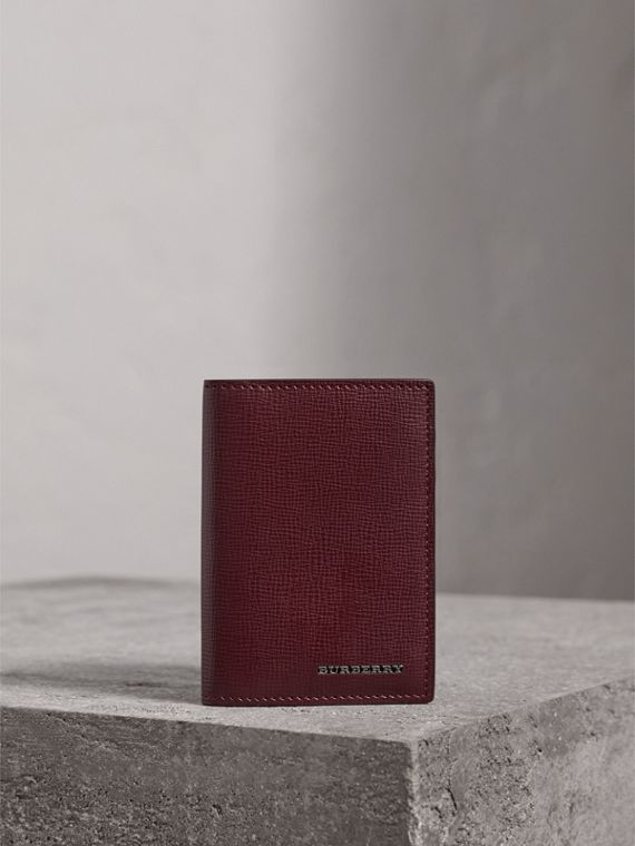 London Leather Folding Card Case in Burgundy Red