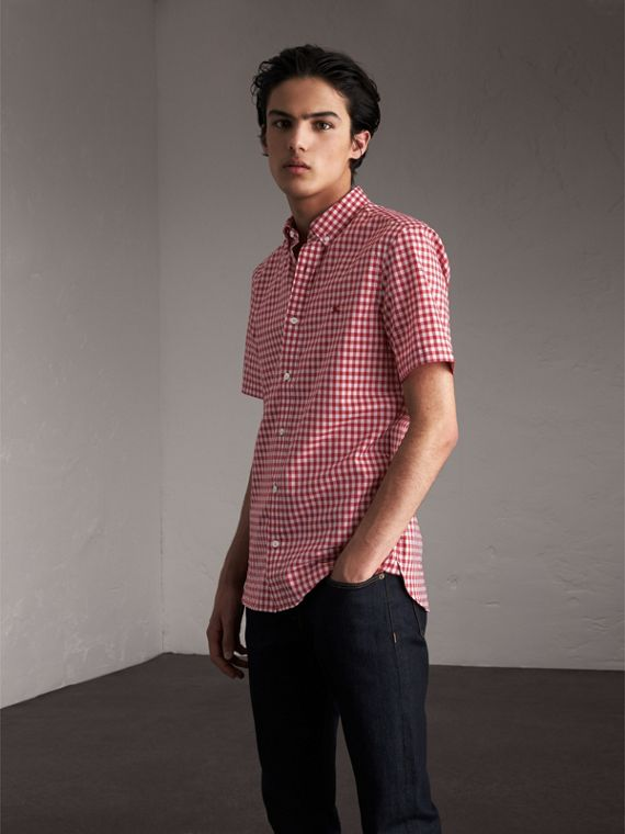 Short-sleeve Button-down Collar Cotton Gingham Shirt Parade Red