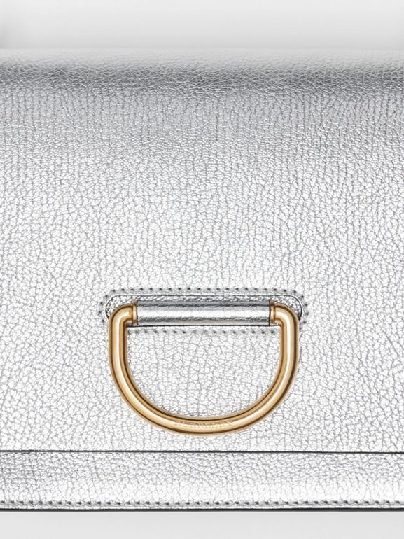 The Small Metallic Leather D-ring Bag in Silver - Women | Burberry United Kingdom - cell image 1