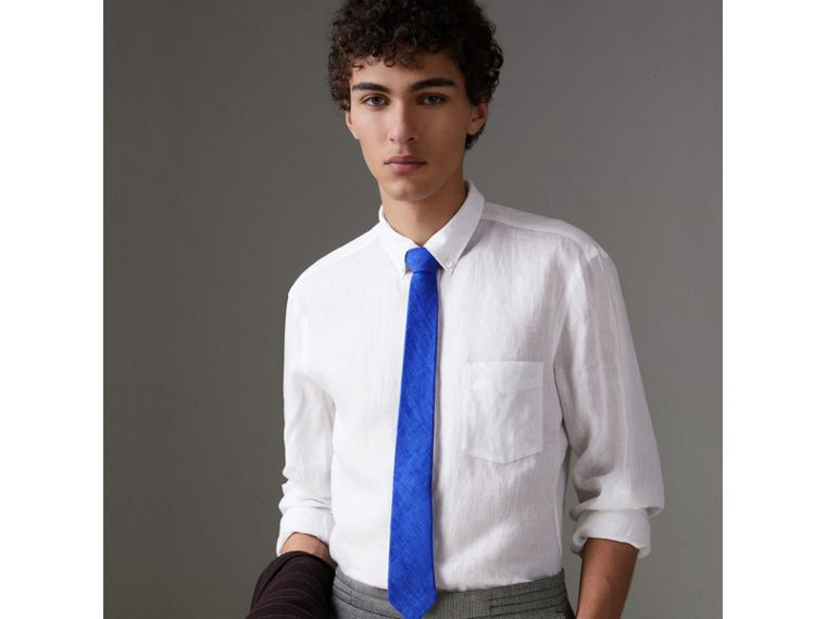 Slim Cut Linen Tie in Violet Blue - Men | Burberry - cell image 2