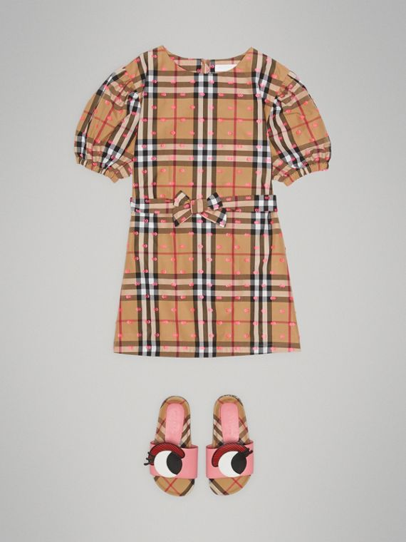 Gathered Sleeve Vintage Check Cotton Dress in Antique Yellow - Girl | Burberry - cell image 2