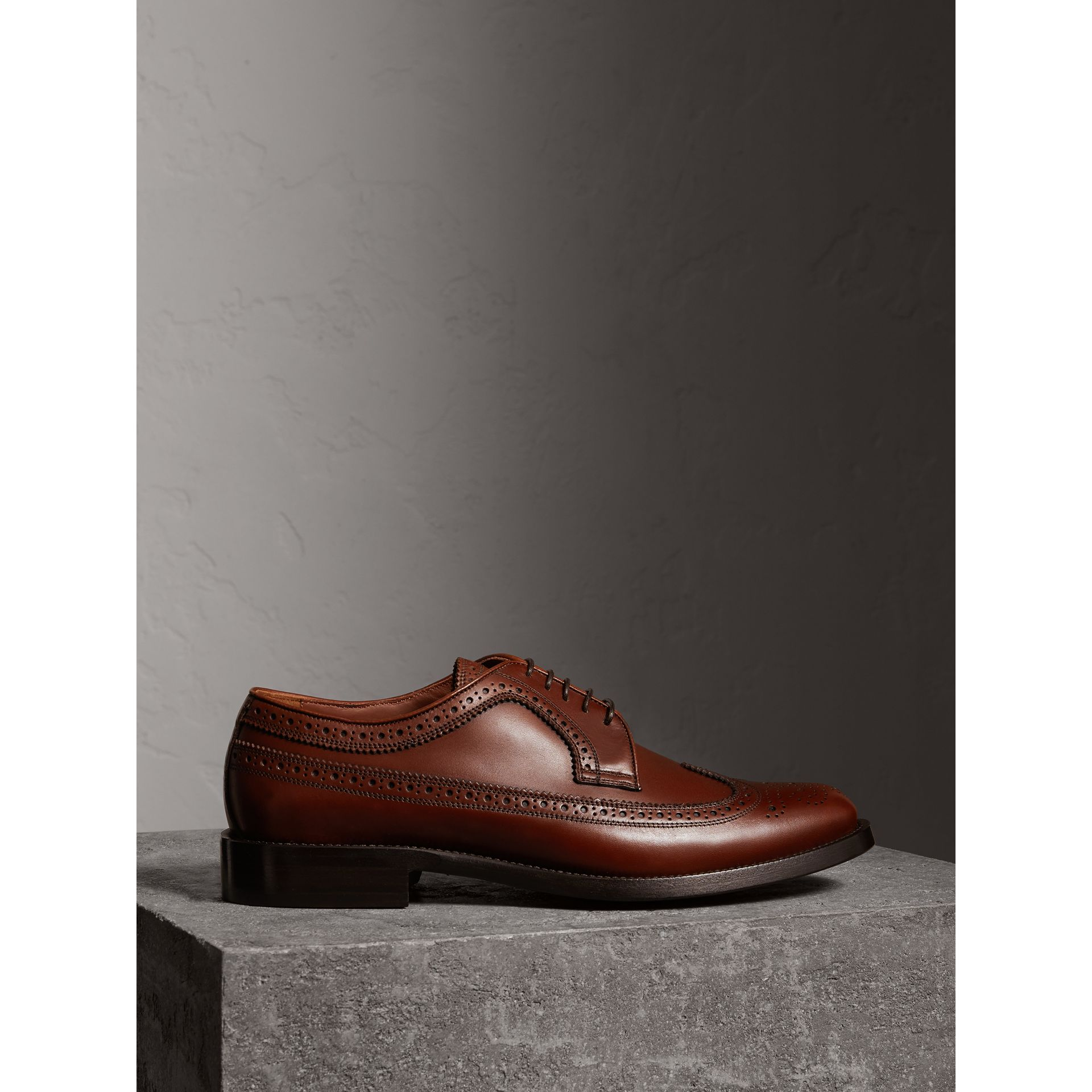 Leather Derby Brogues in Chestnut - Men | Burberry - gallery image 5