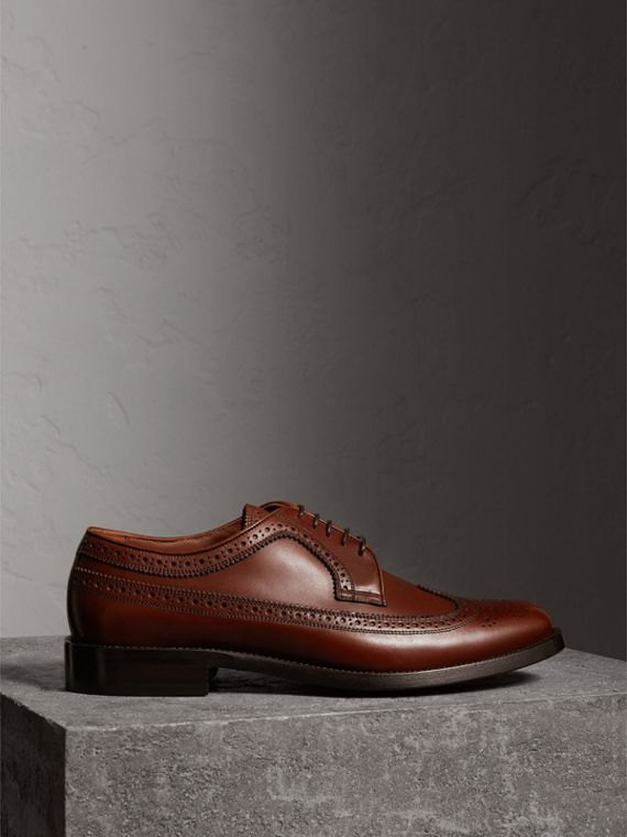 Brogue Derby in pelle (Castano)