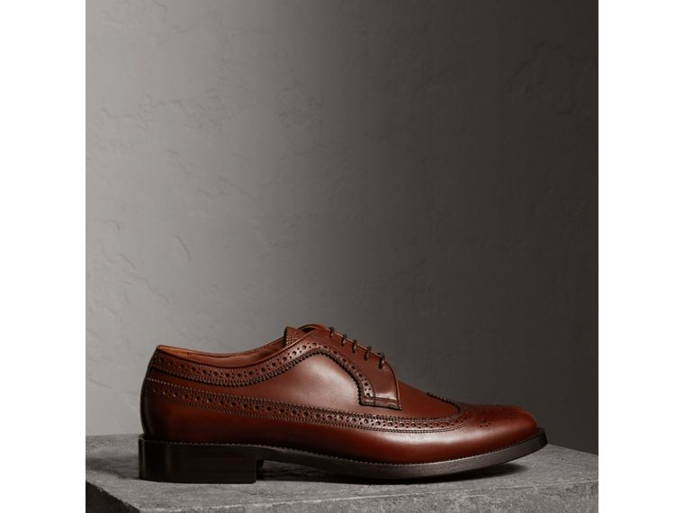 Leather Derby Brogues in Chestnut - Men | Burberry - cell image 4