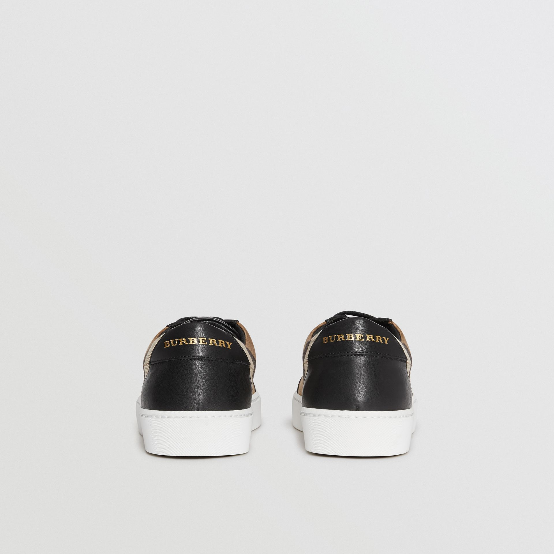 Check Detail Leather Sneakers in House Check/black - Women | Burberry Canada - gallery image 4