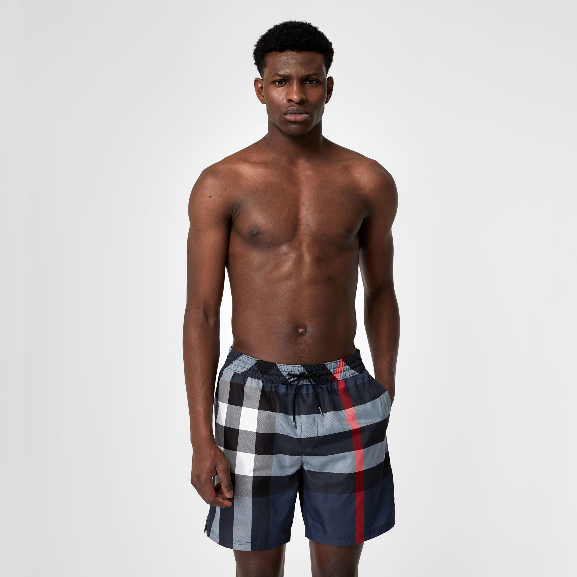 Check Drawcord Swim Shorts in Carbon Blue - Men | Burberry United Kingdom - gallery image 0