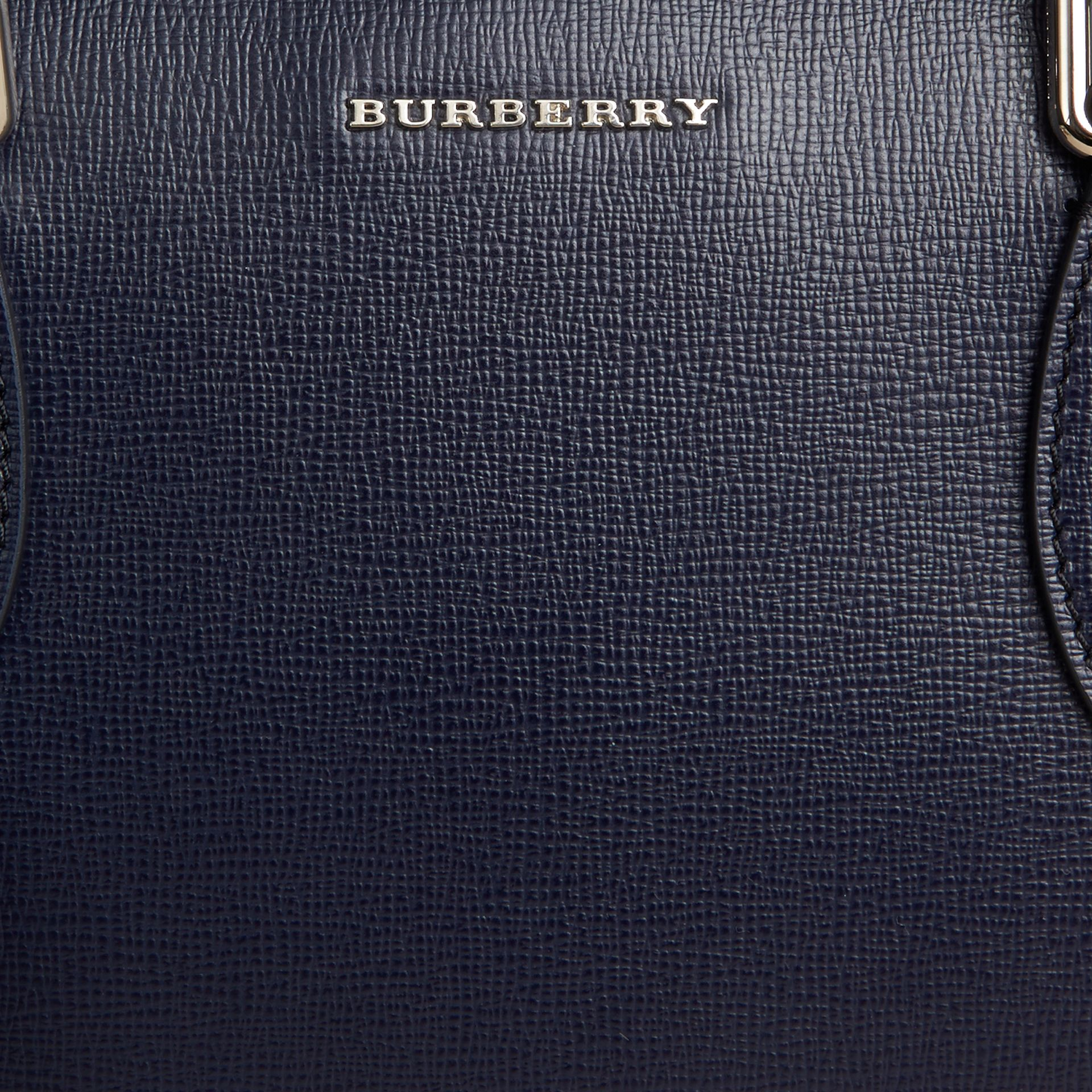 Medium London Leather Briefcase Dark Navy - gallery image 2
