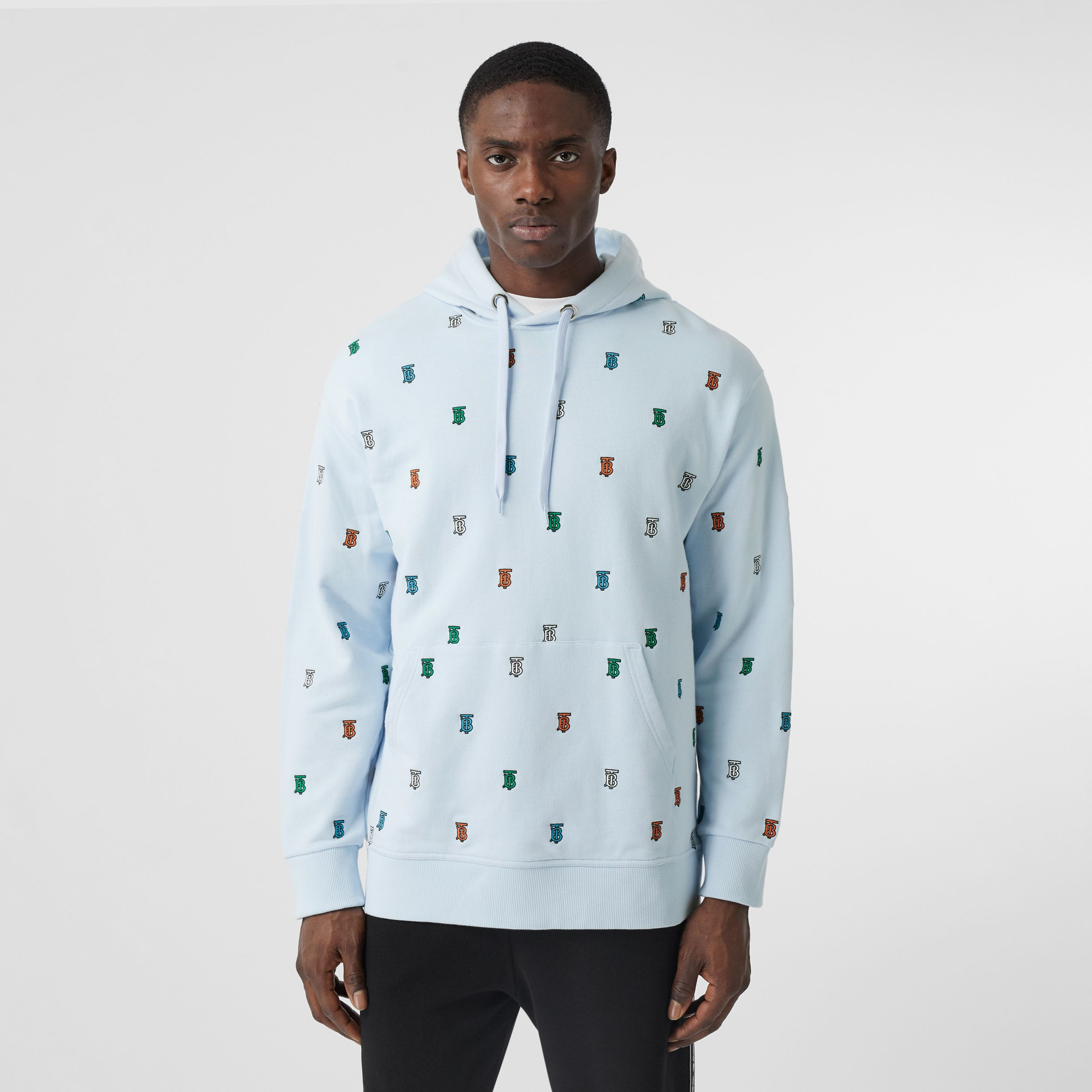 Monogram Motif Cotton Hoodie in Pale Blue - Men | Burberry - 1