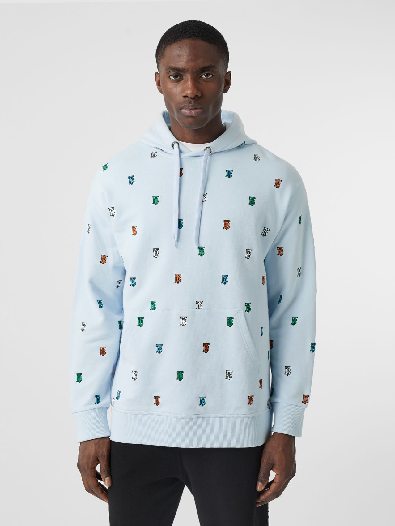 Monogram Motif Cotton Hoodie in Pale Blue