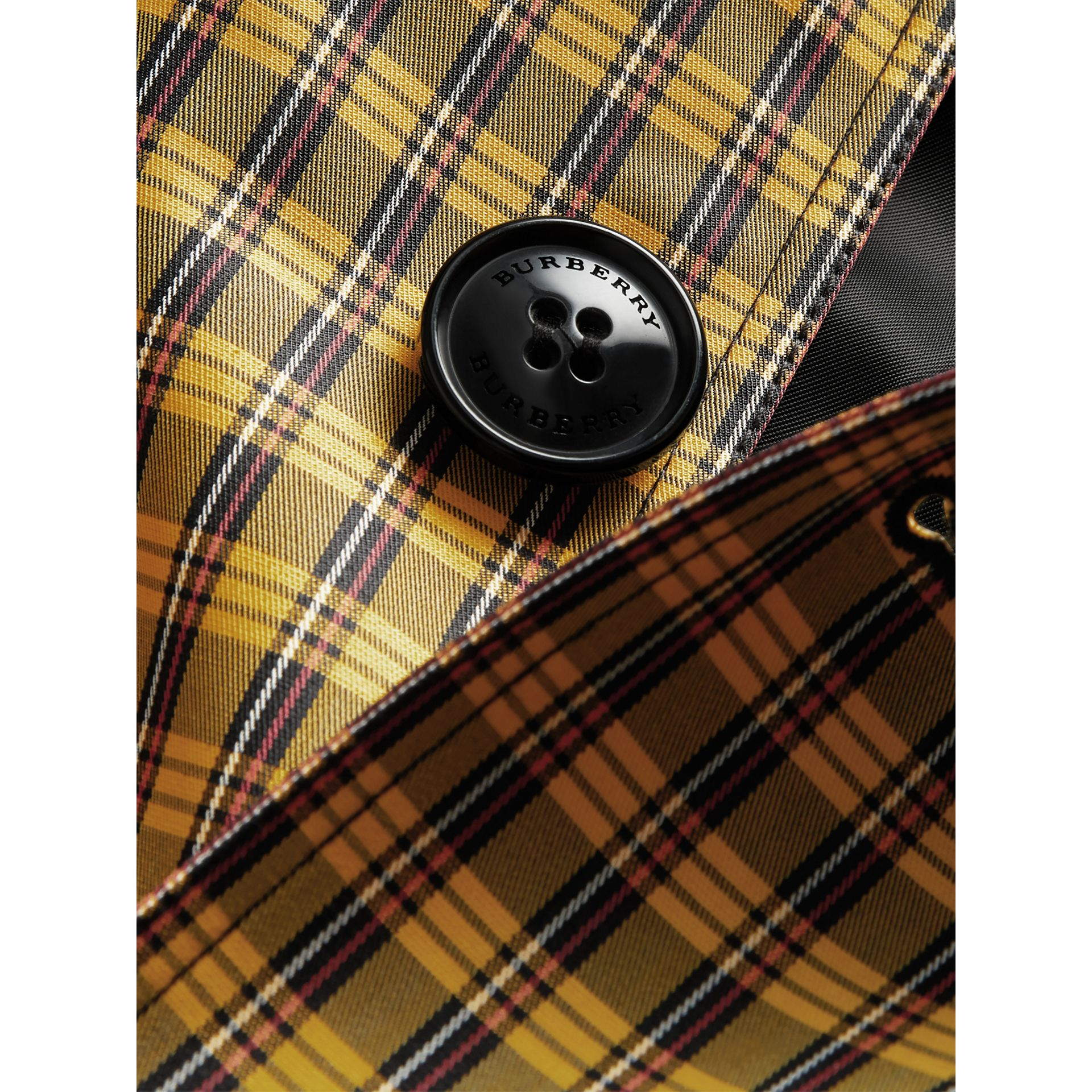 Shrunken Check Cotton Blend Car Coat in Bright Saffron Yellow | Burberry - gallery image 4