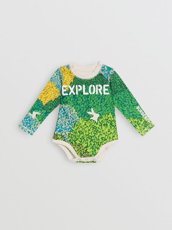 Explore Graphic Print Cotton Bodysuit in Stone