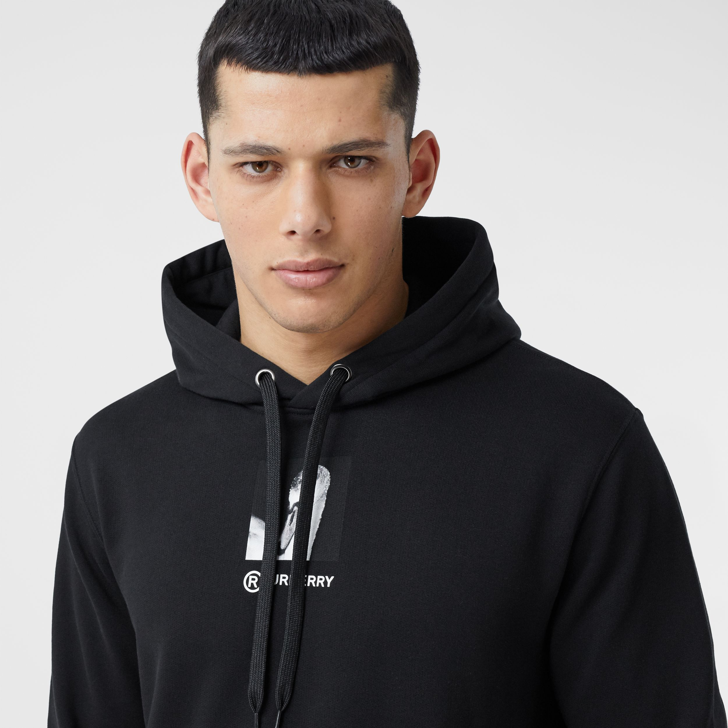 Montage Print Cotton Hoodie in Black - Men | Burberry - 2