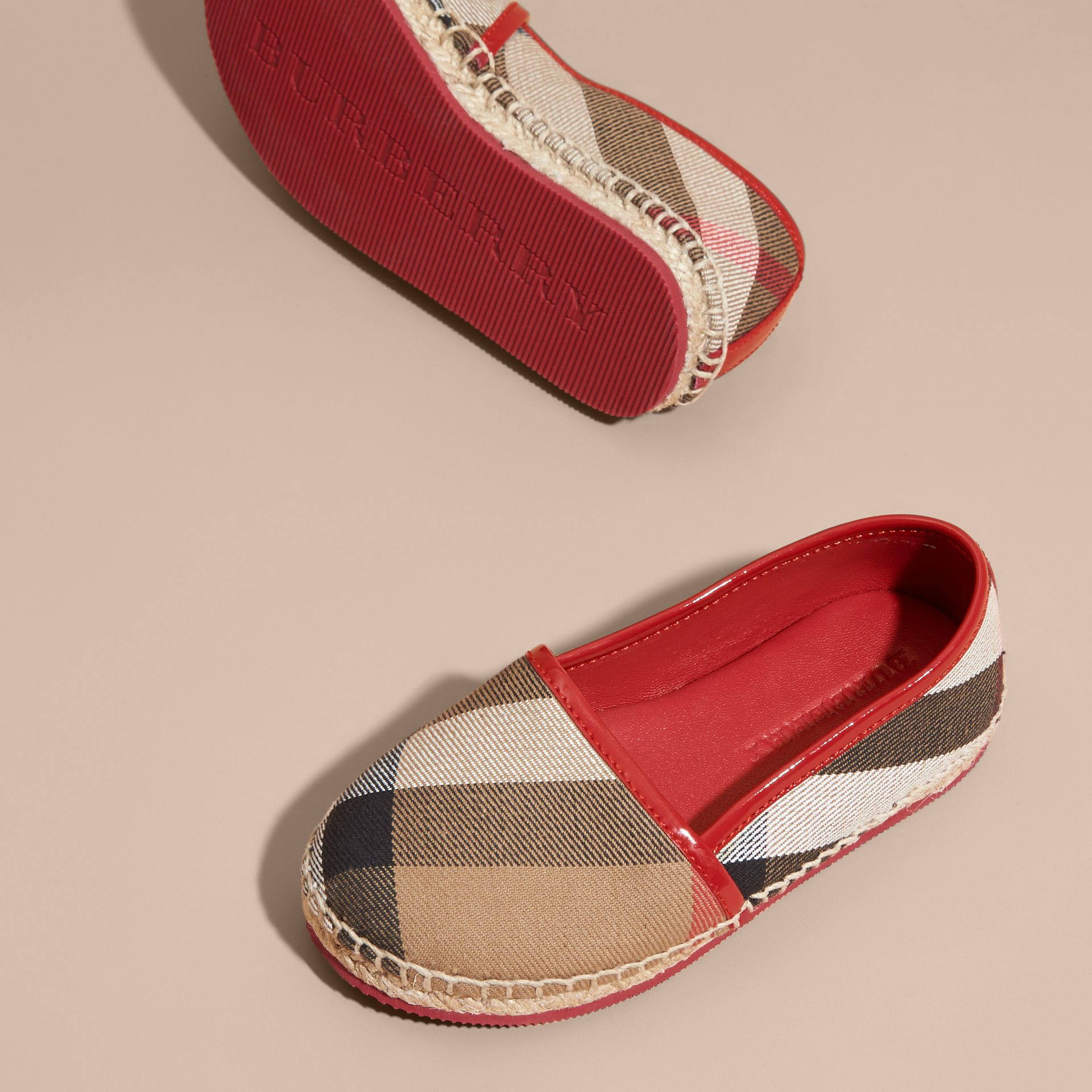 Leather and House Check Espadrilles Berry Pink - gallery image 3