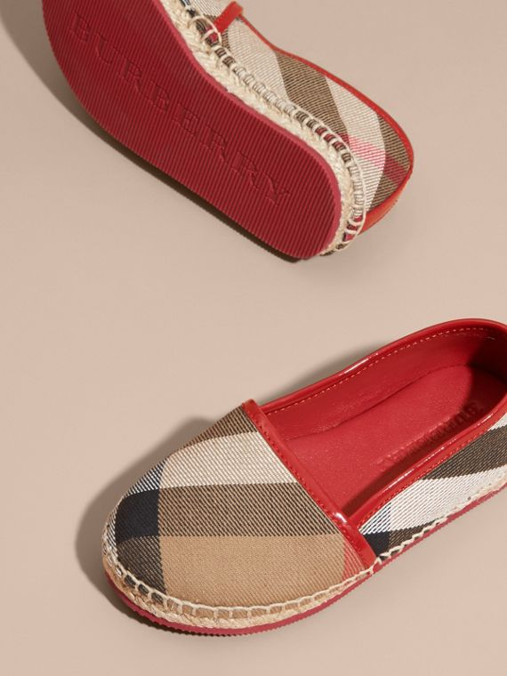 Leather and House Check Espadrilles Berry Pink - cell image 2