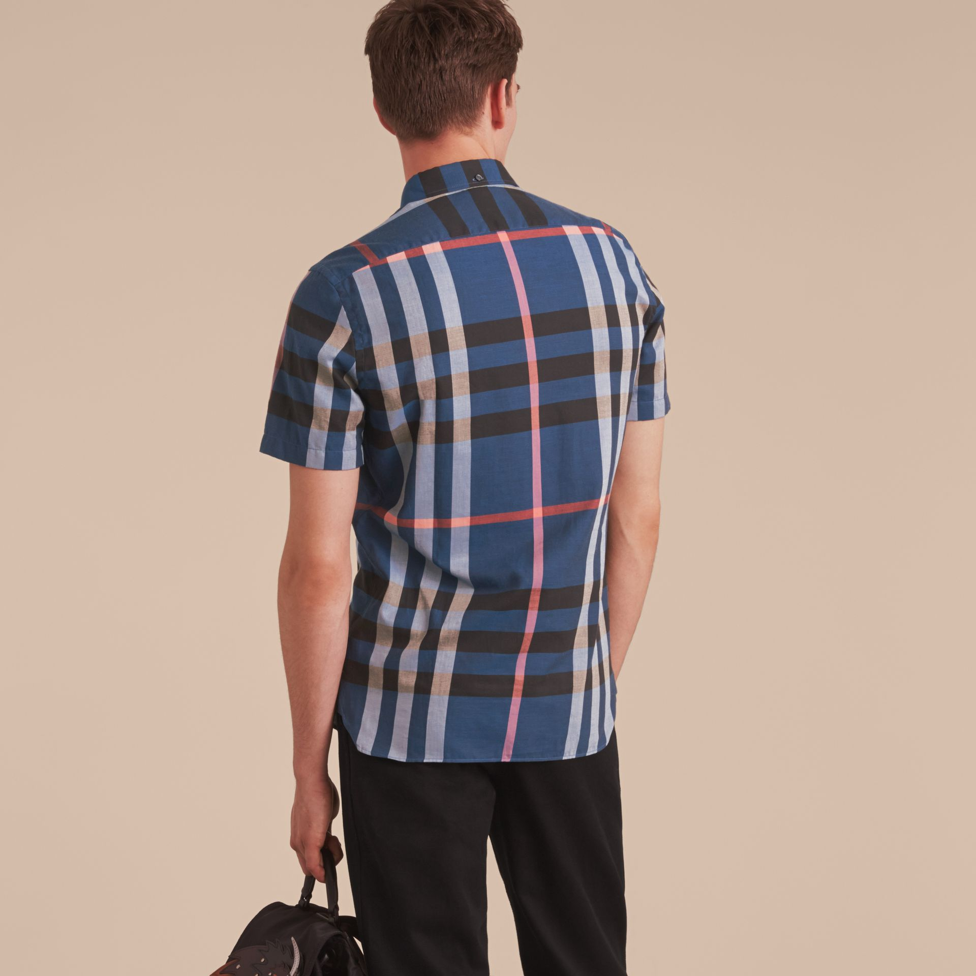 Button-down Collar Short-sleeve Check Cotton Shirt in Ink Blue - gallery image 3