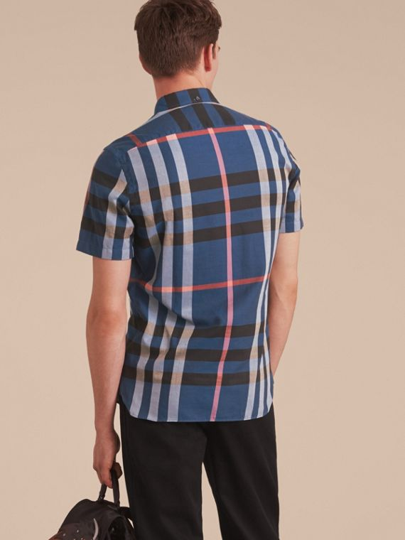 Button-down Collar Short-sleeve Check Cotton Shirt in Ink Blue - cell image 2