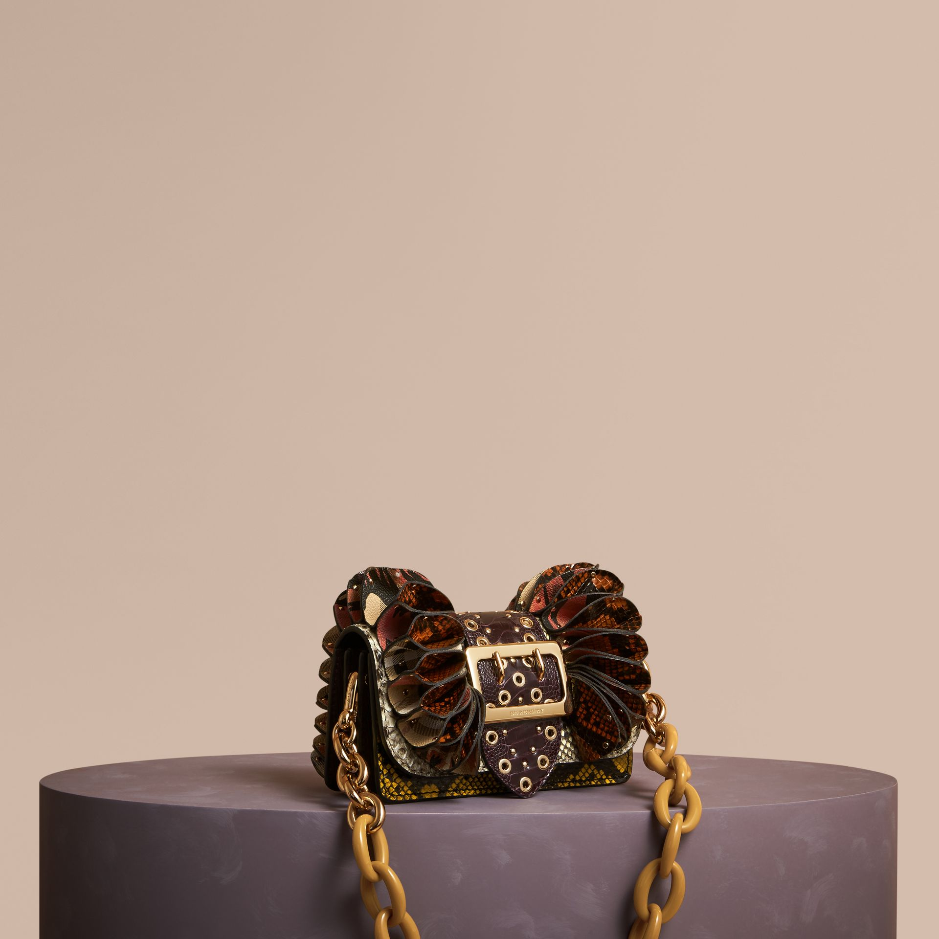 The Ruffle Buckle Bag in Snakeskin, Ostrich and Check Natural - gallery image 1