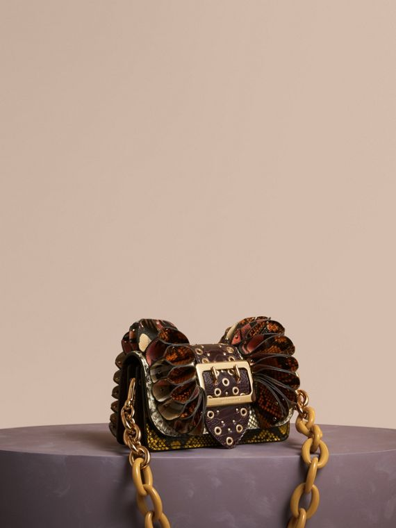 The Ruffle Buckle Bag in Snakeskin, Ostrich and Check Natural