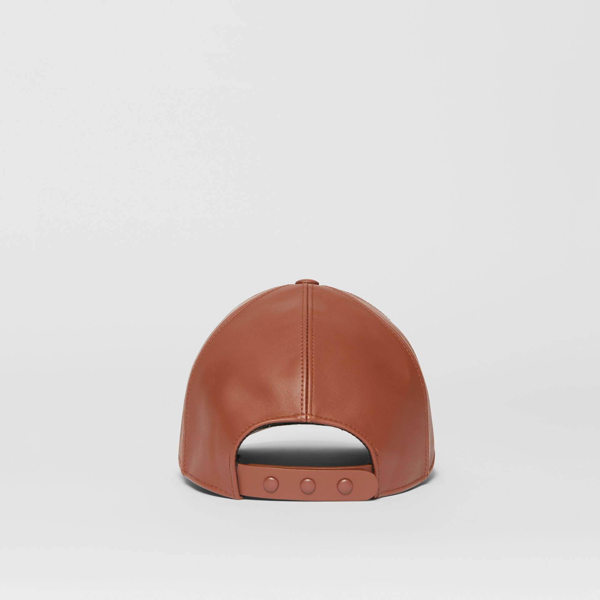 Monogram Motif Leather Baseball Cap in Tan | Burberry - gallery image 6