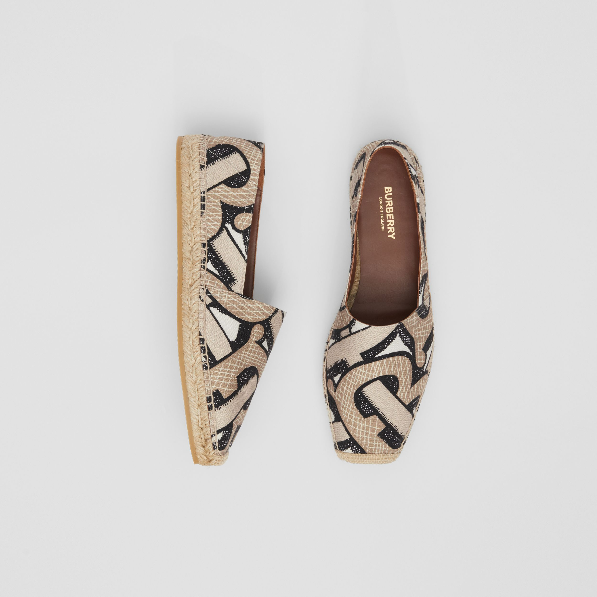 Monogram Print Cotton Canvas Espadrilles in Dark Beige - Women | Burberry Canada - 1