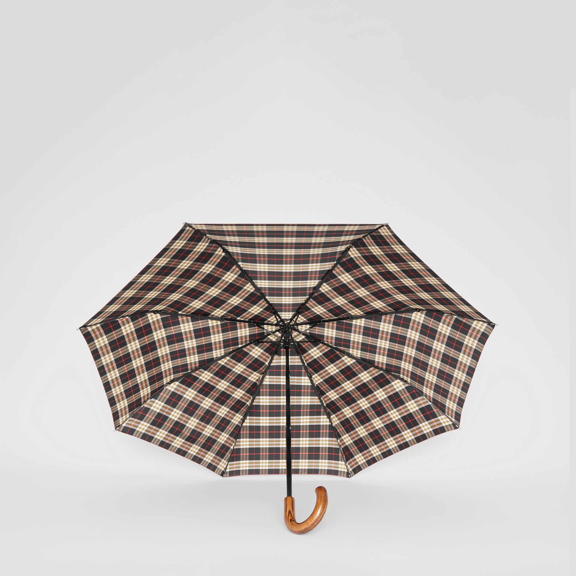 Check Print Folding Umbrella in Black | Burberry - gallery image 3