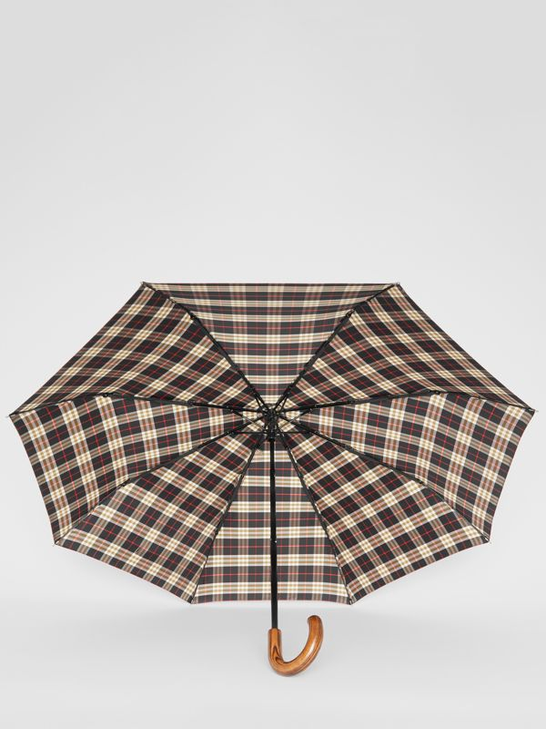 Check Print Folding Umbrella in Black | Burberry - cell image 3