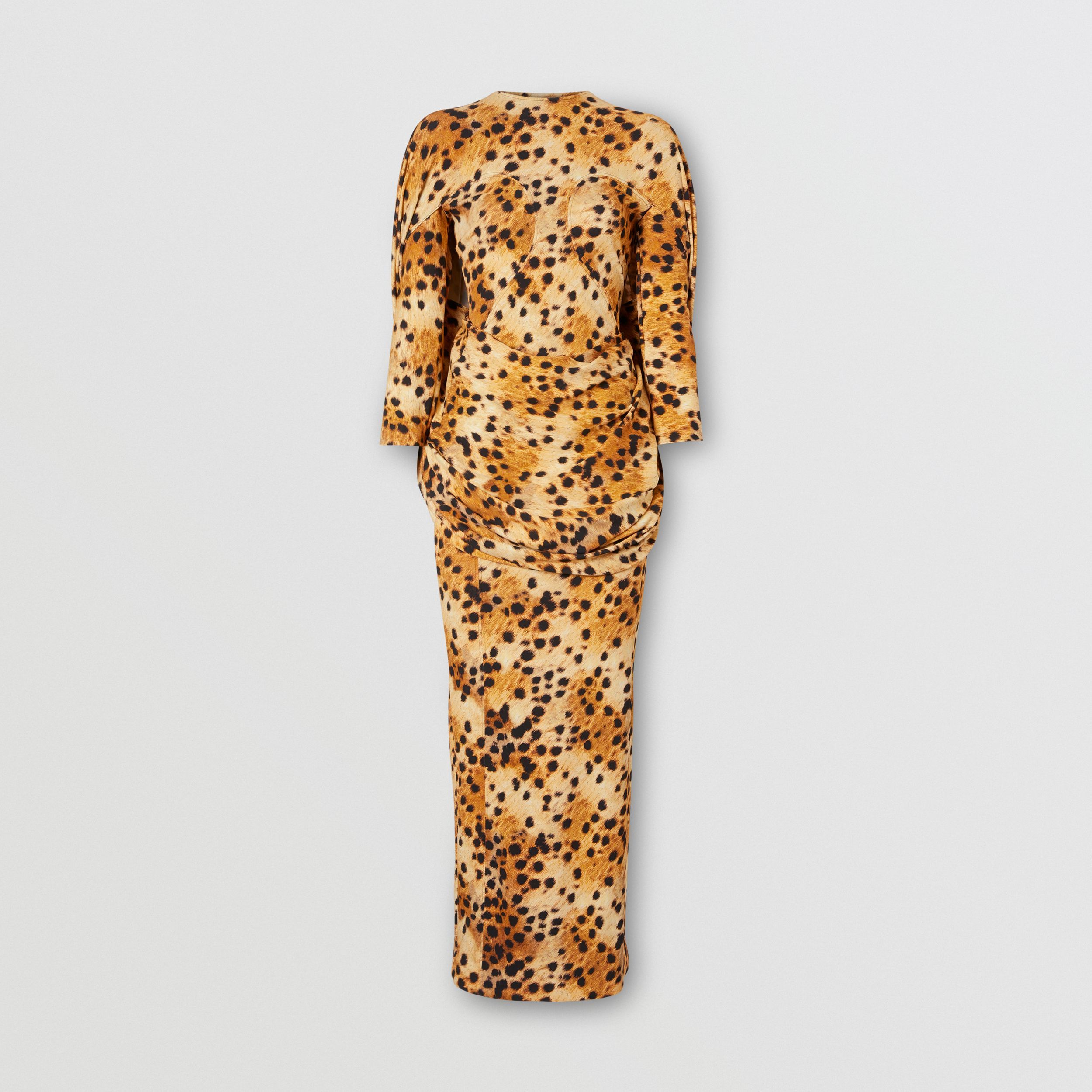 Sash Detail Spotted Monkey Print Dress in Nutmeg - Women | Burberry - 3