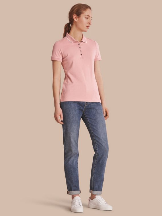 Lace Trim Cotton Blend Polo Shirt with Check Detail in Nude - Women | Burberry