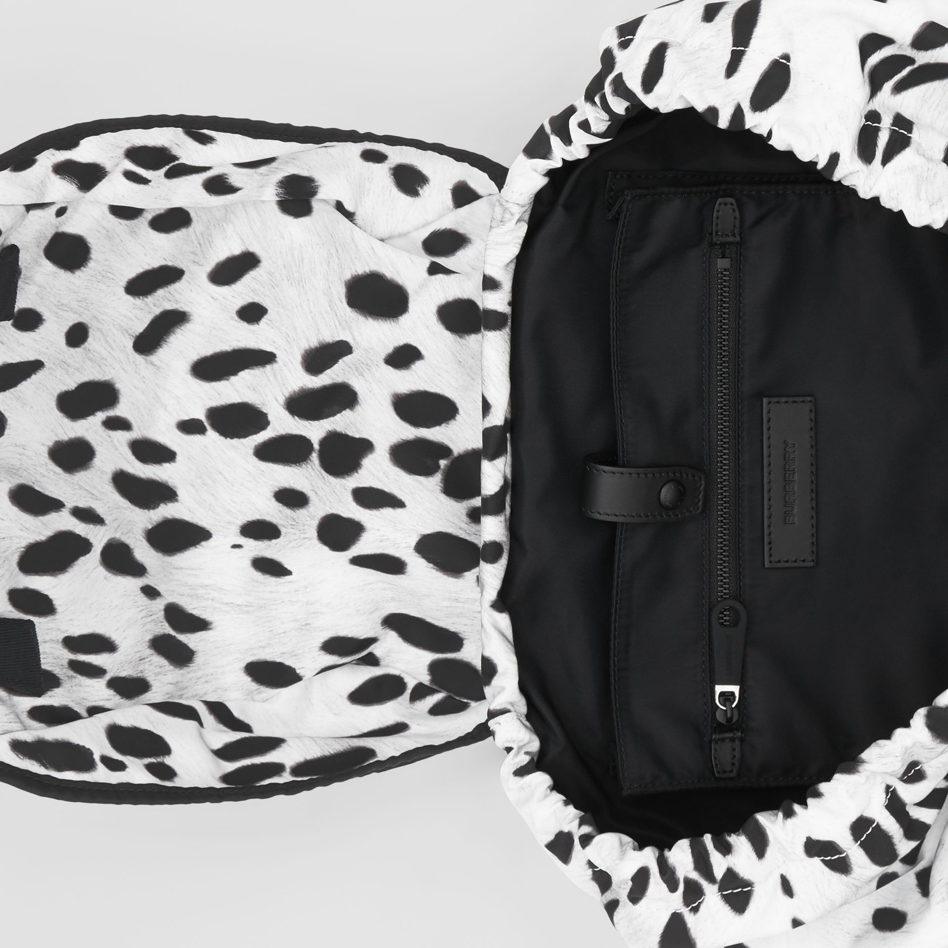 Logo and Dalmatian Print Nylon Backpack in Black - Women | Burberry United Kingdom - gallery image 4