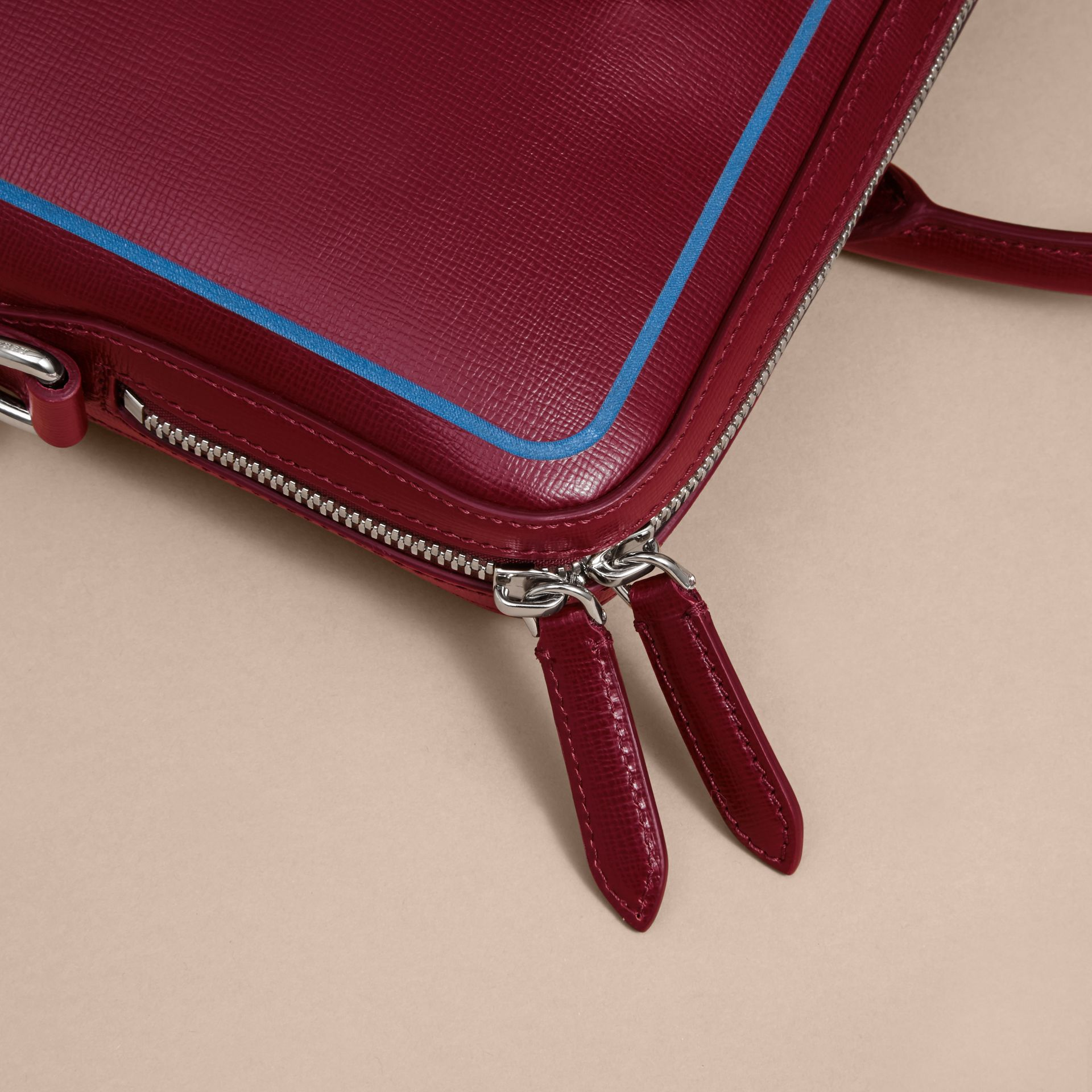 The Slim Barrow Bag in London Leather with Border Detail Burgundy Red - gallery image 2