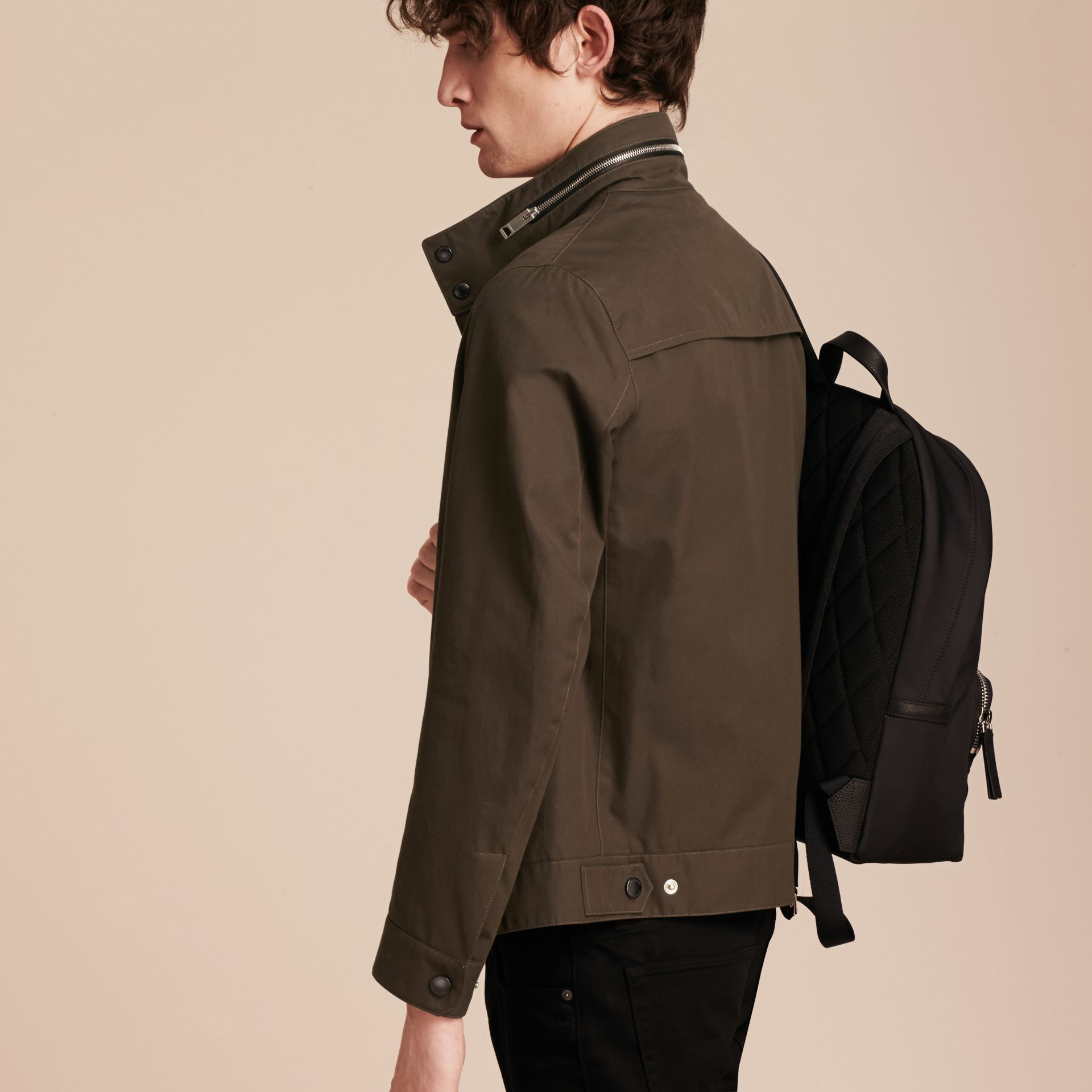 Olive green Packaway Hood Cotton Gabardine Jacket - gallery image 3