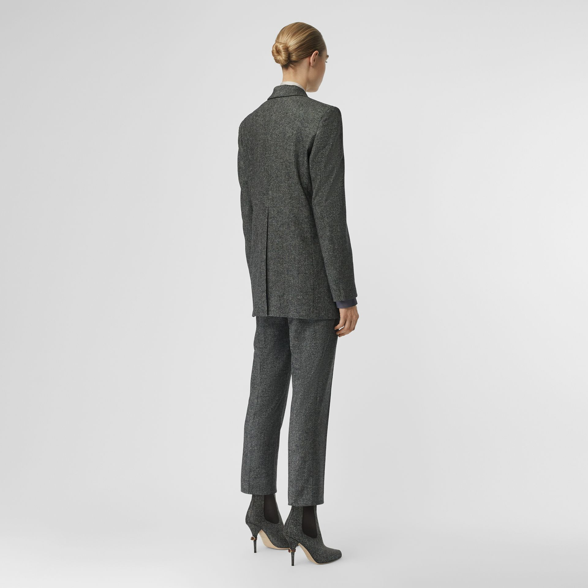 Wool Cashmere Tweed Tailored Jacket in Black Melange - Women | Burberry United Kingdom - gallery image 2
