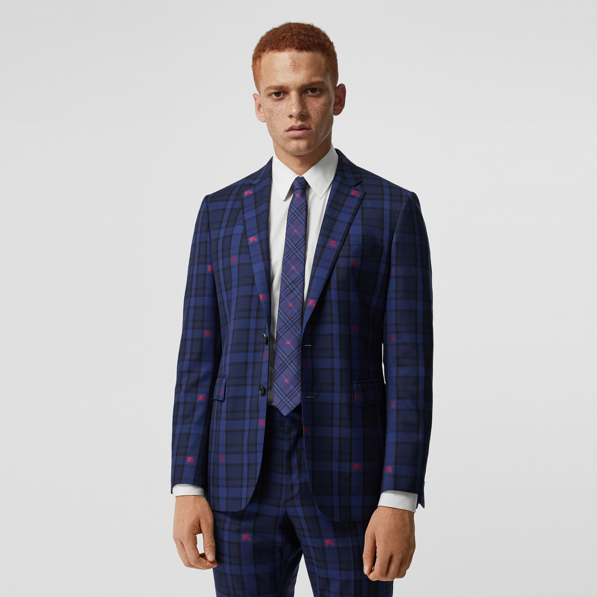 Slim Fit EKD Check Wool Tailored Jacket in Dark Indigo - Men | Burberry - gallery image 0