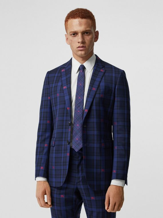 Slim Fit EKD Check Wool Tailored Jacket in Dark Indigo