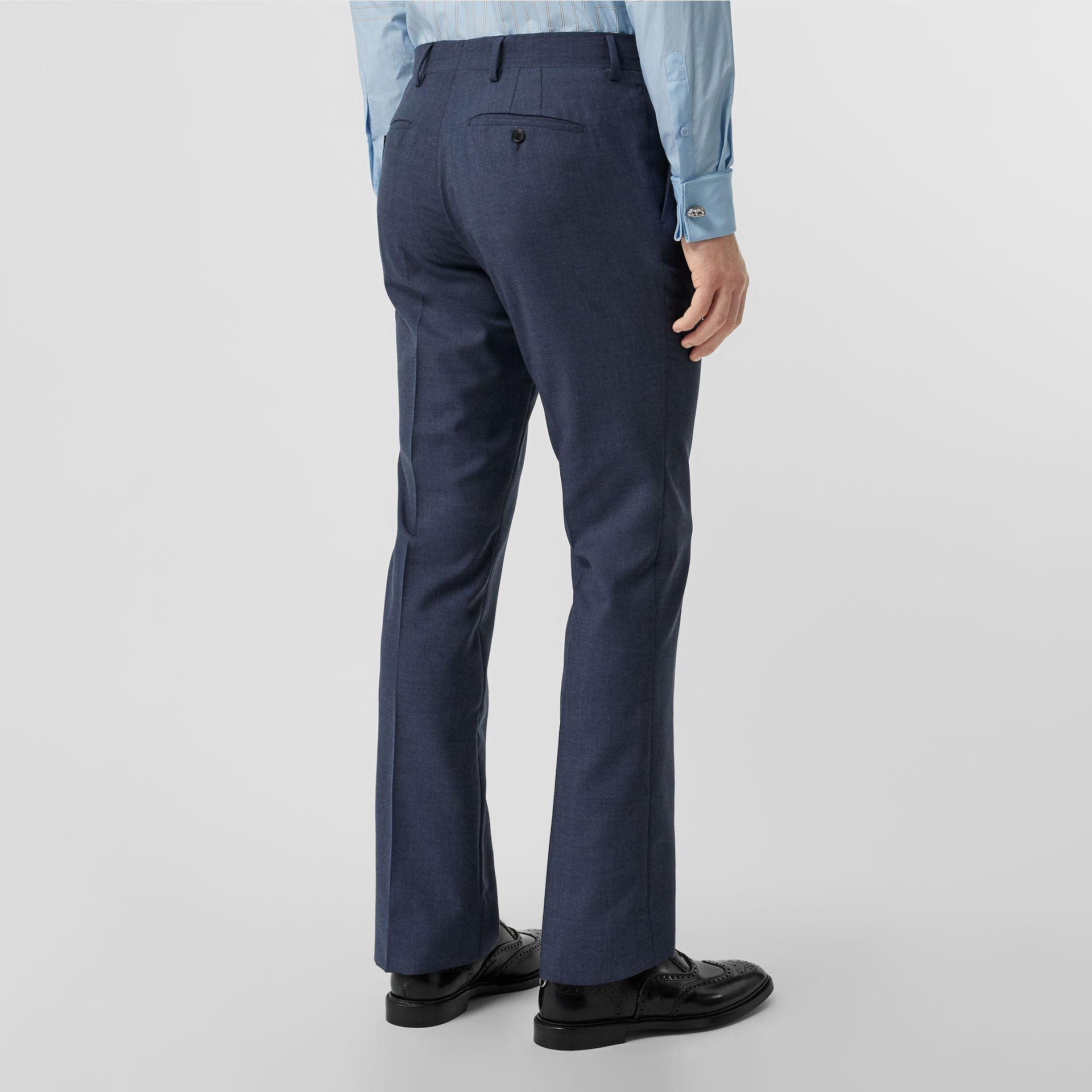 Classic Fit Wool Mohair Tailored Trousers in Steel Blue Melange - Men | Burberry United States - gallery image 1