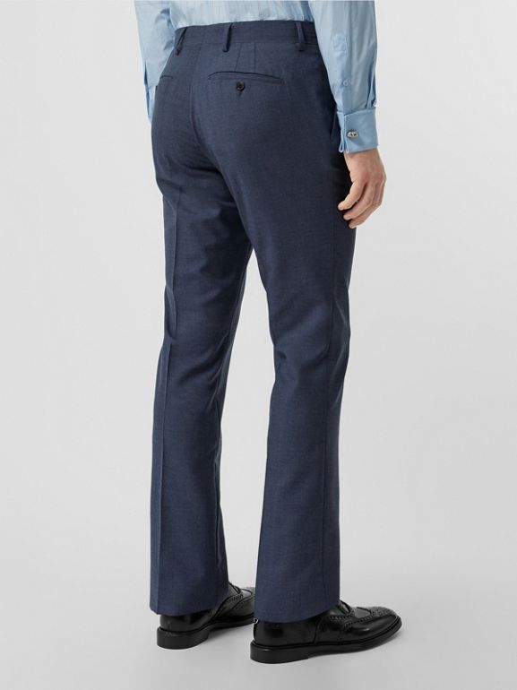 Classic Fit Wool Mohair Tailored Trousers in Steel Blue Melange - Men | Burberry United States - cell image 1