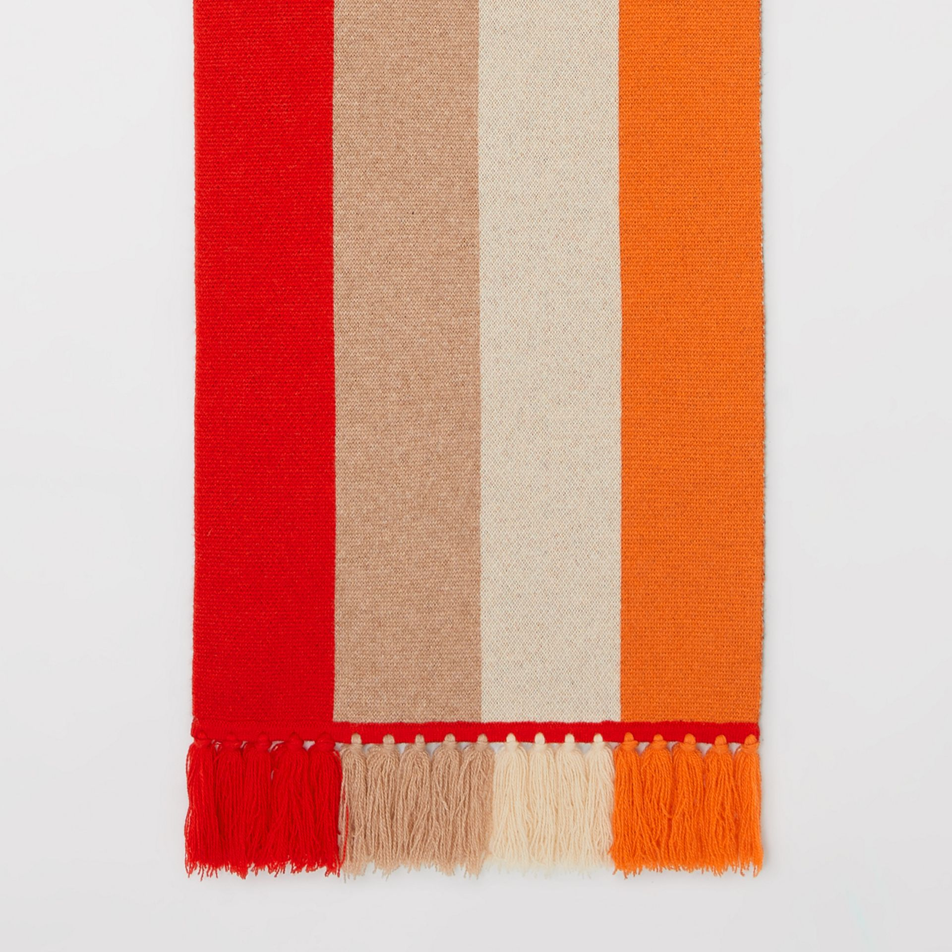 Logo Detail Striped Cashmere Jacquard Scarf in Bright Orange | Burberry United Kingdom - gallery image 3