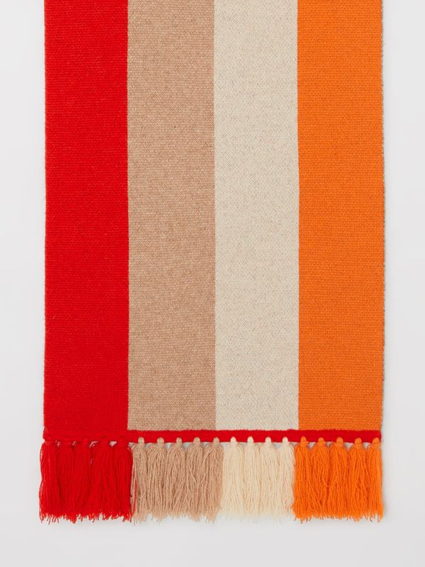 Logo Detail Striped Cashmere Jacquard Scarf in Bright Orange | Burberry - cell image 3