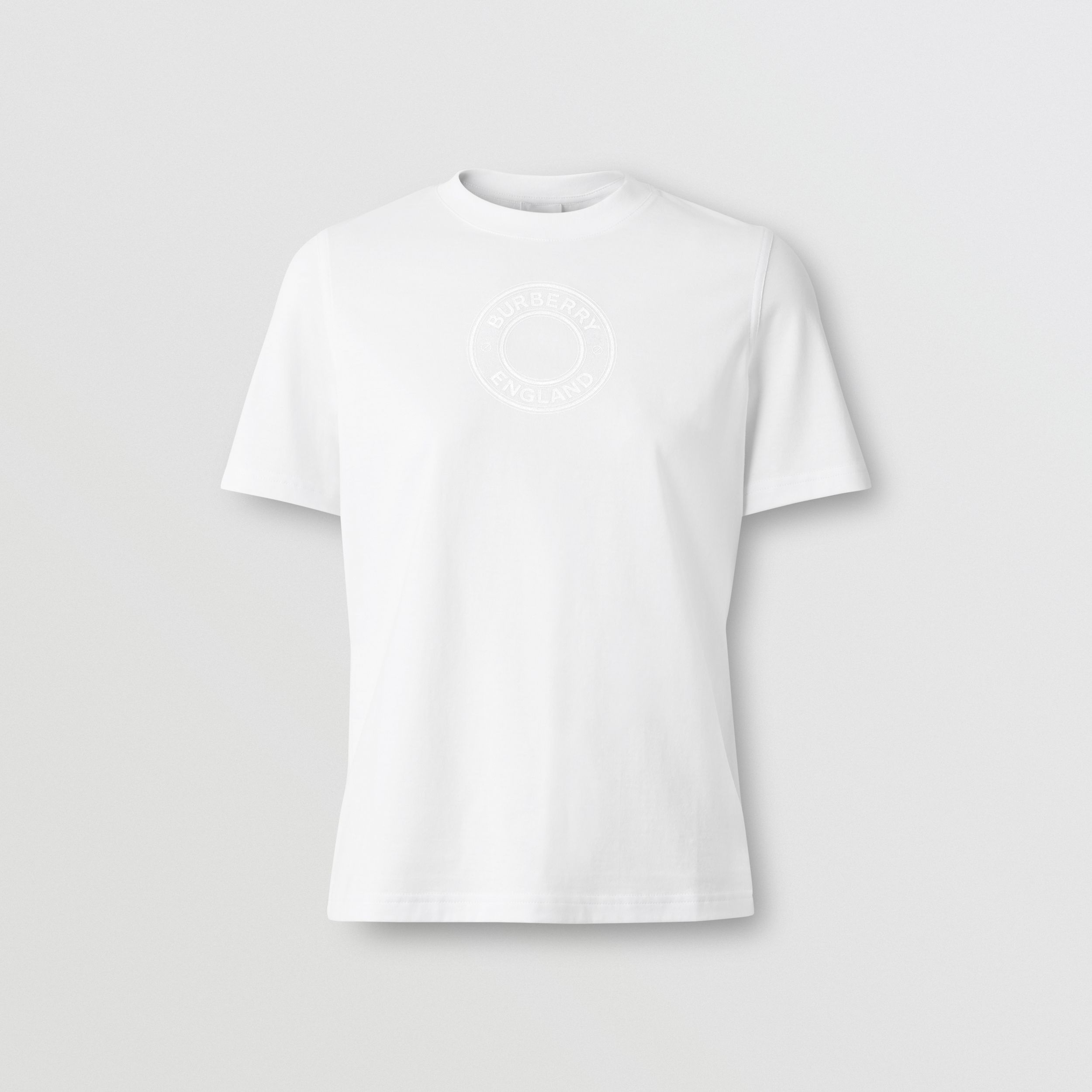 Logo Graphic Cotton T-shirt in White - Women | Burberry - 4
